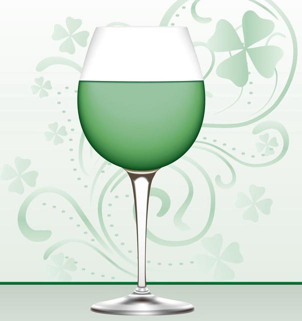 st patrick green wine illustration B
