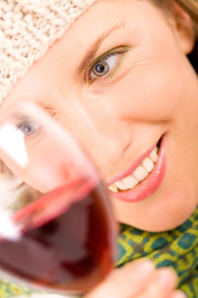 women with wine glass close