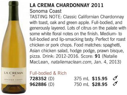 La Crema Chardonnay April 27 4