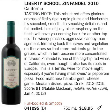 Liberty Zinfandel April 27 2