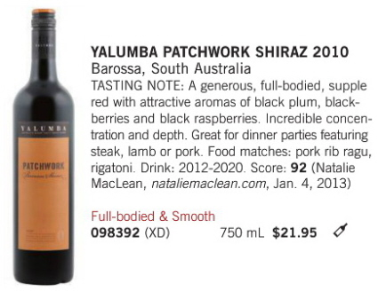 Yalumba Patchwork Shiraz Vintages April 2013
