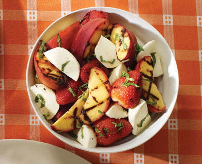August - Post 1 Grilled Fruit Salad with Bocconcini and Mint