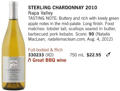 July 20 2013 Sterling Chardonnay