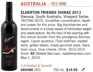 Aug 31 2013 Elderton Shiraz