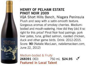 Aug 31 2013 Henry of Pelham Pinot