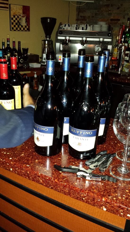 Blue Bottles of Ruffino on Bar