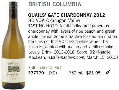 March 15 2014 Quails Gate Chardonnay