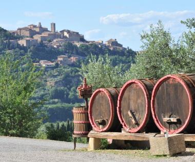 wine barrels amd winemaking equipment in Montepulciano, Italy