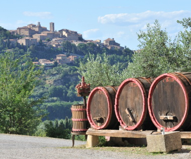 wine barrels amd winemaking equipment in Montepulciano, Italy