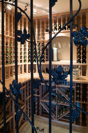 wine cellar room basement storage bottles stacked