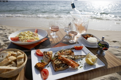 seafood beach wine