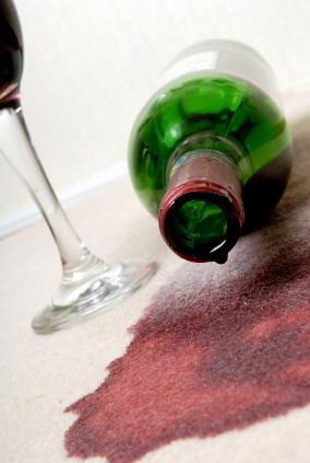 red wine spilled on carpet