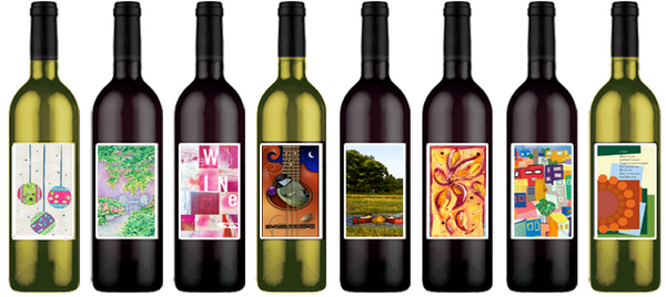 wine label art many bottles