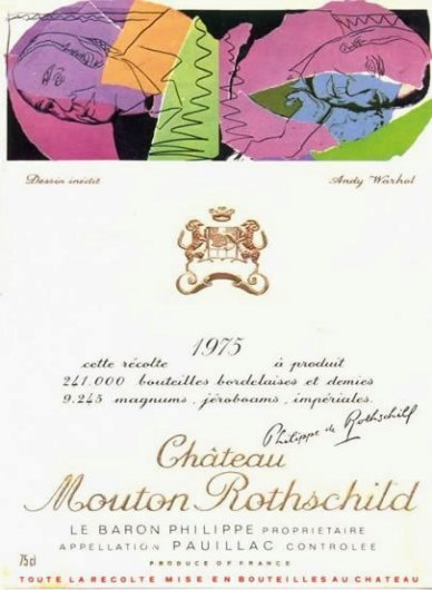 wine label art mouton andy warhohl
