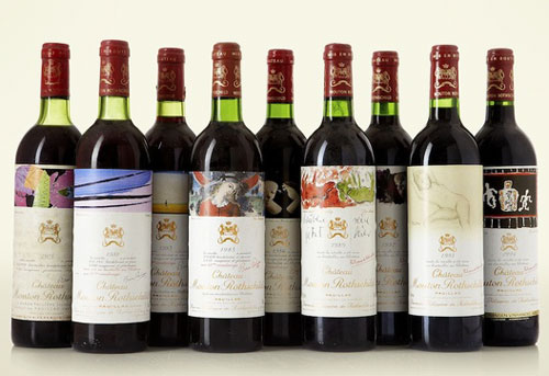wine label art mouton bottles