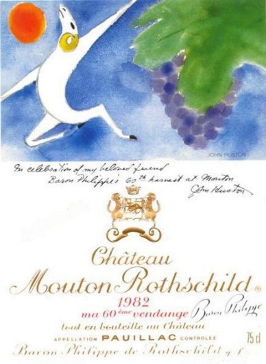 wine label art mouton john huston