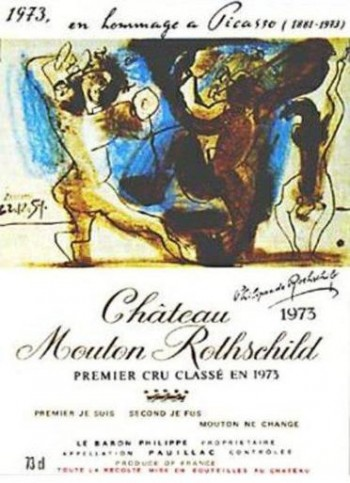 wine label art mouton picasso