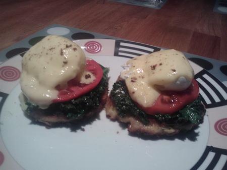 Sunday Brunch Benedict on Potato and Zucchini Fritter