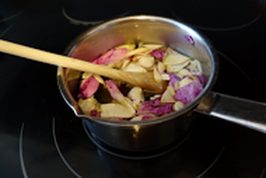 Rose Petal syrup in pot