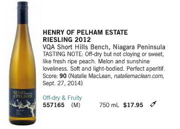 Henry of Pelham Riesling