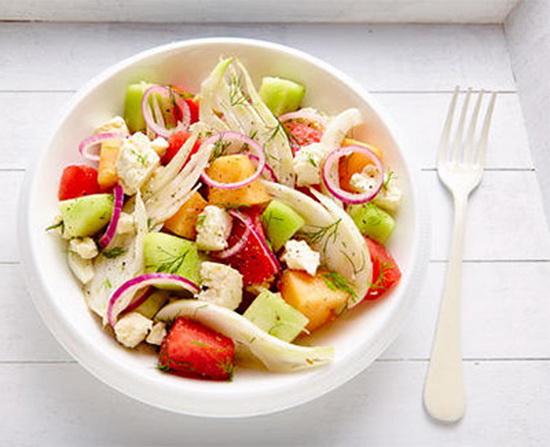 Fennel-melon and feta salad