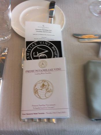 Primum Familiae Vini place setting