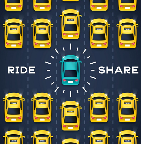Crowdsourced transportation services and private taxi driving concept.