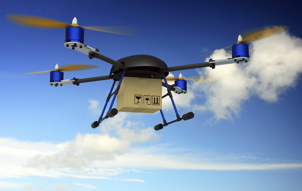 Delivery Drone. Digitally Generated Image