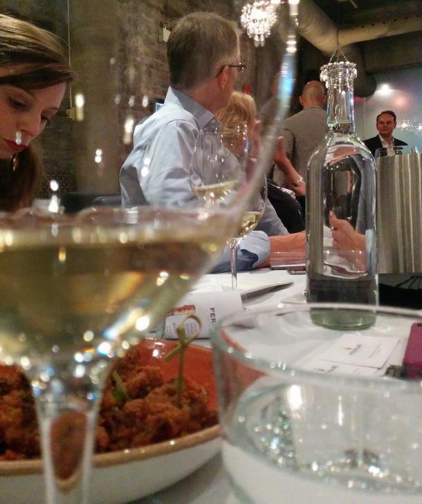 View through wine glass