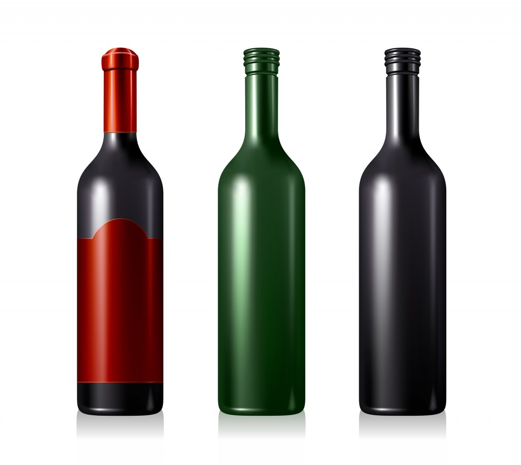 Vector illustration of 3 wine bottles