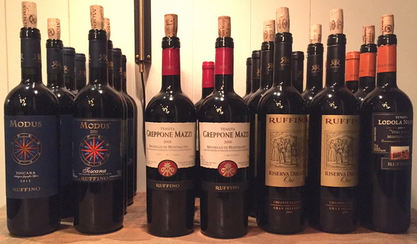 ruffino wine bottles