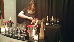 Angela Aiello of iYellow Wine Club Popping Taittinger