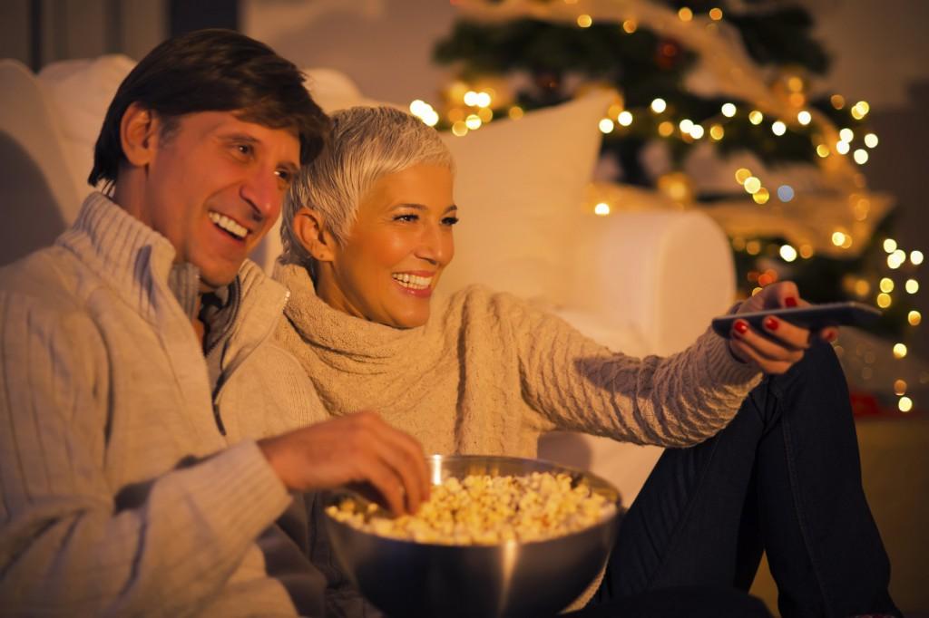 Christmas movie couple watching xl