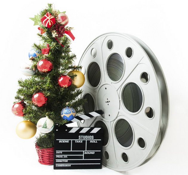Christmas tree with big movie reel and clapperboard