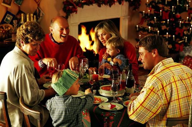 Family Easting Christmas Dinner