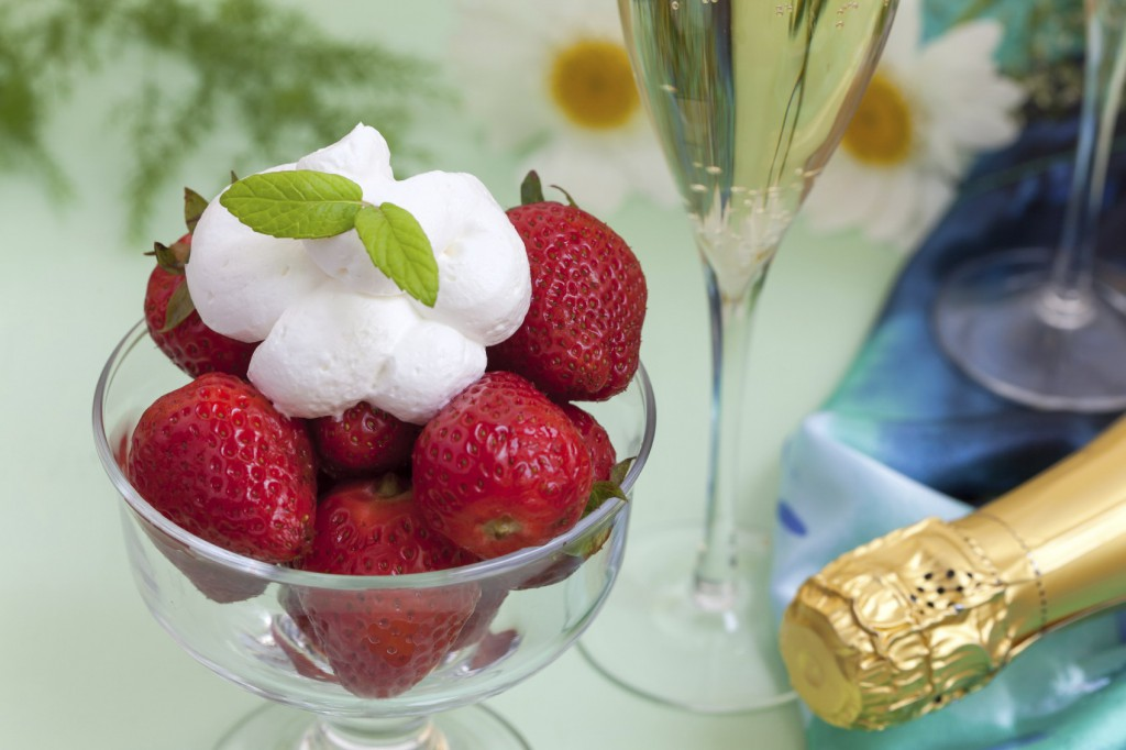 strawberries whipped cream champagne