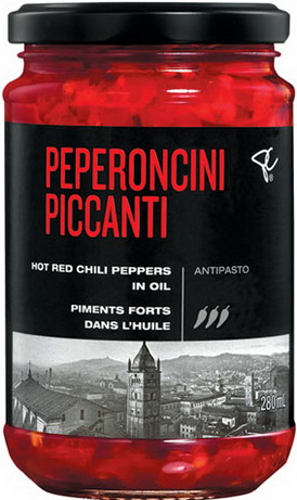 PC® BLACK LABEL PEPERONCINI PICCANTI HOT RED CHILI PEPPERS IN OIL ANTIPASTO 280 mL BIL 6038303588 NG775190 BTR14