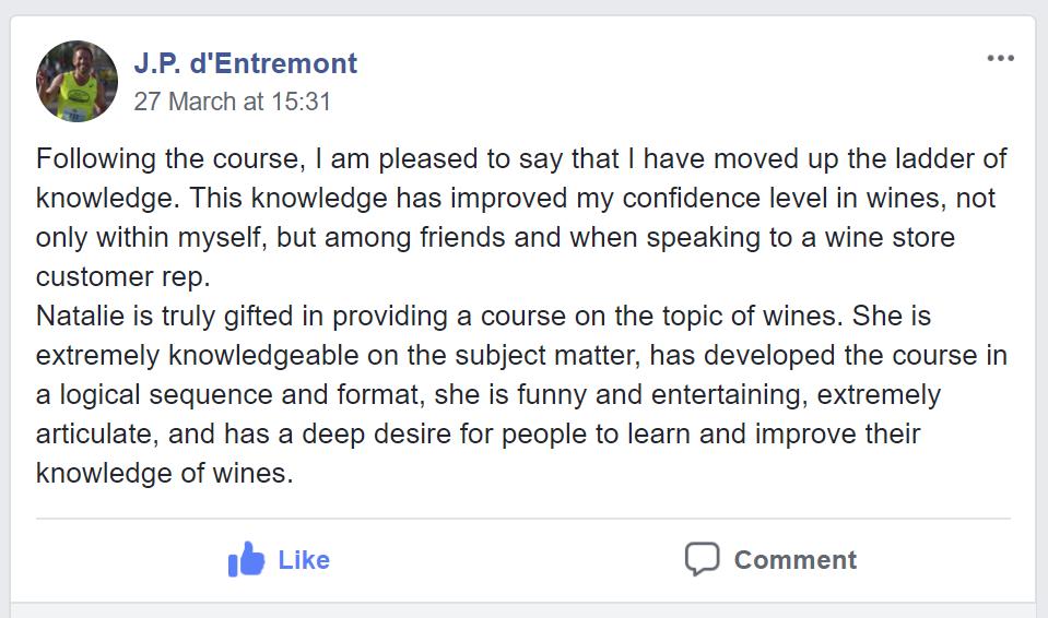 Testimonial about Natalie's course by J.P. d'Entremont