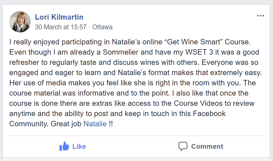 Testimonial about Natalie's course by Lori Kilmartin