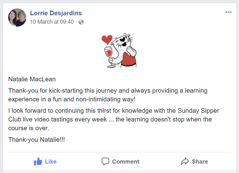 Testimonial about Natalie's course by Lorrie Desjardins