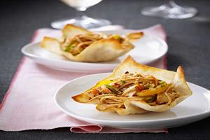Asian-style Spaghetti & Chicken Salad in Baked Wonton Cups