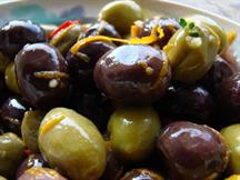 Spiced Mixed Olives with Garlic and Orange