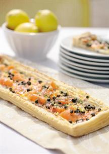 Smoked Salmon Puff Pastry Pizza with Capers and Dill