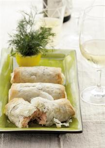 Salmon in Phyllo with Lemon and Herbs