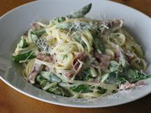 Asparagus and Linguine Carbonara