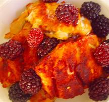 Crisp Spiced Salmon with blackberries