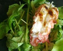 Grilled Lobster Tail with Arugula and Sherry-Ginger Vinaigrette