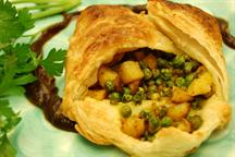 Open Face Potato and Peas Curry in a Puff Pastry Pocket